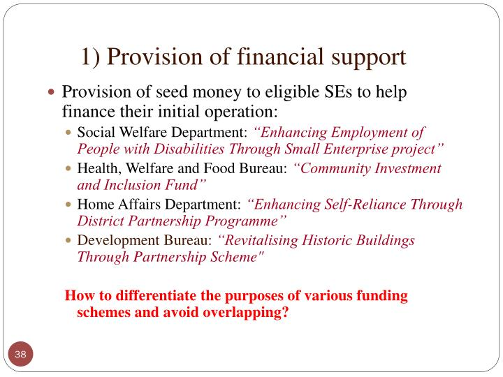 1) Provision of financial support