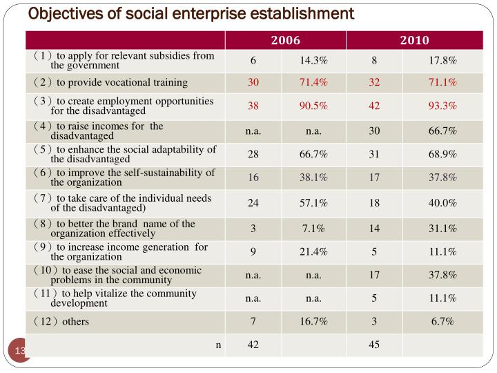 Objectives of social enterprise establishment