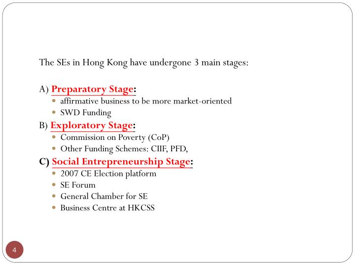 The SEs in Hong Kong have undergone 3 main stages: