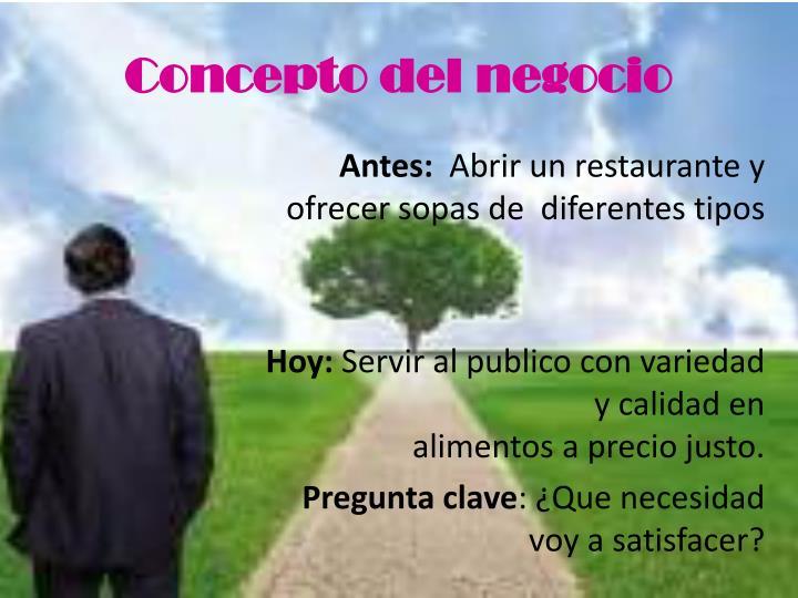 Concepto del negocio