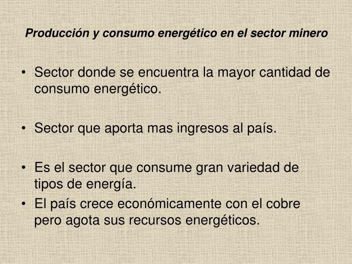 Producción y consumo energético en el sector minero