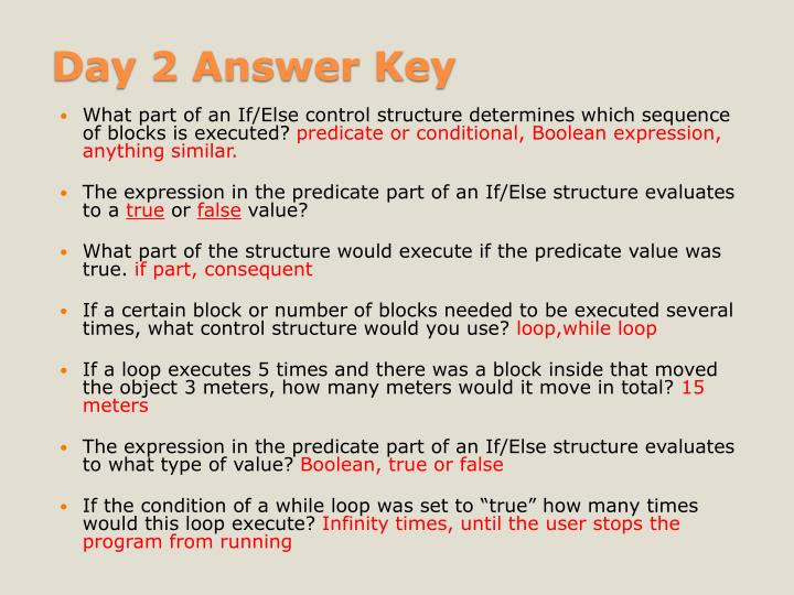 Day 2 Answer Key