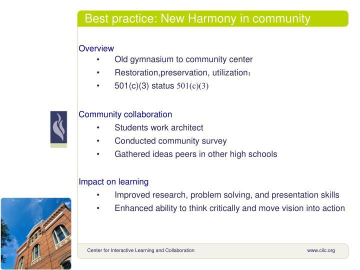 Best practice: New Harmony in community