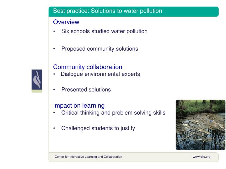 Best practice: Solutions to water pollution