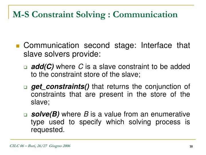 M-S Constraint Solving : Communication