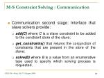 m s constraint solving communication1