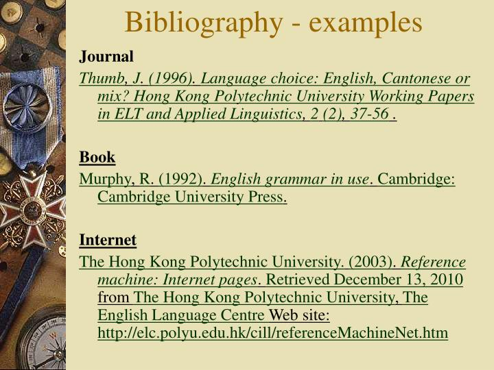 Bibliography - examples