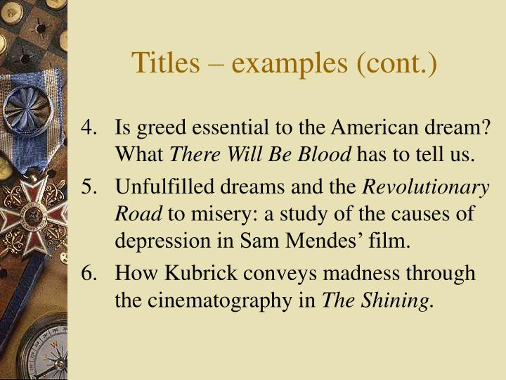 Titles – examples (cont.)