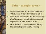 titles examples cont