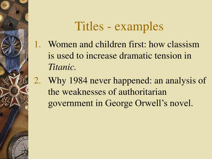 Titles - examples