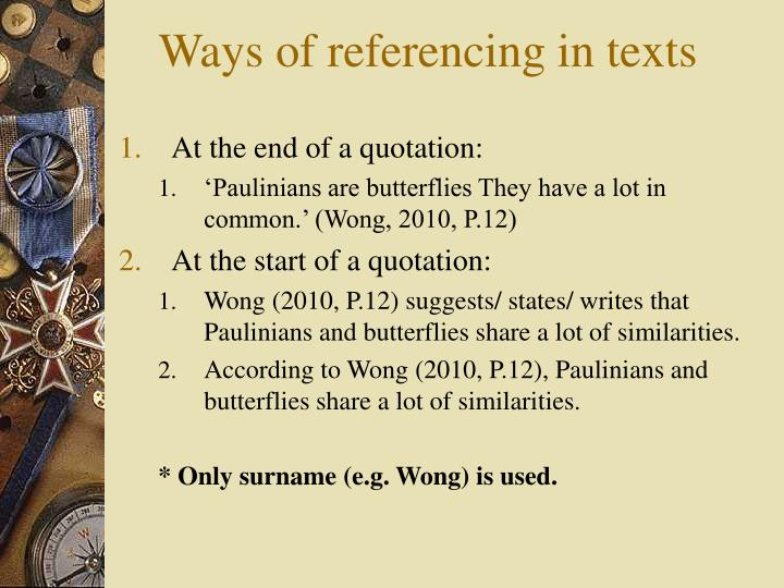 Ways of referencing in texts