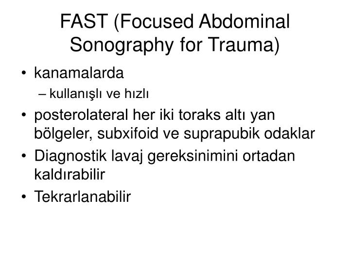 FAST (Focused Abdominal Sonography for Trauma)