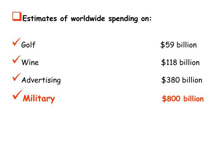 Estimates of worldwide spending on: