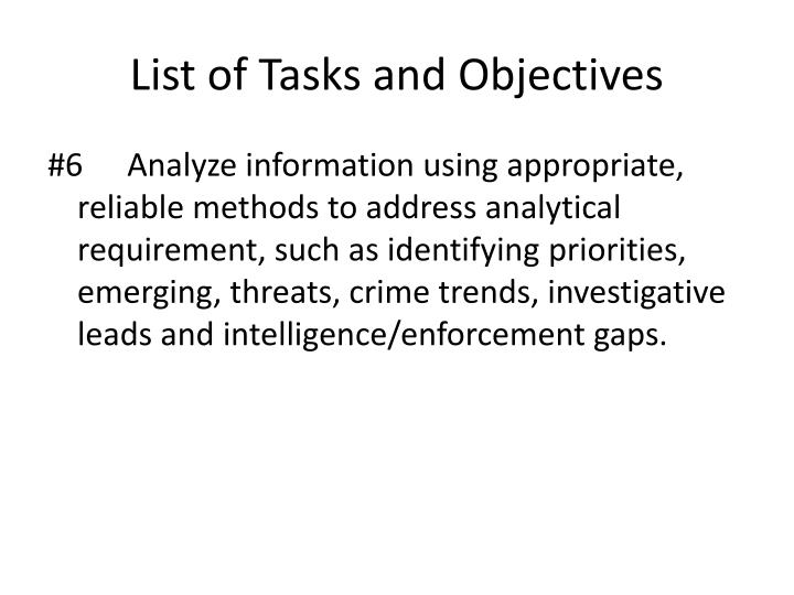 List of Tasks and Objectives