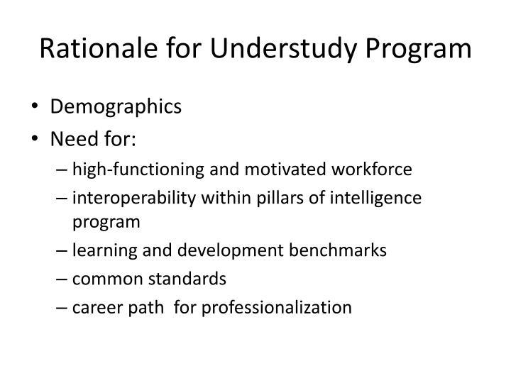 Rationale for Understudy Program