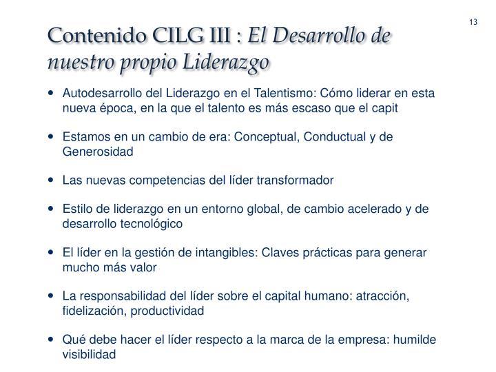 Contenido CILG III :
