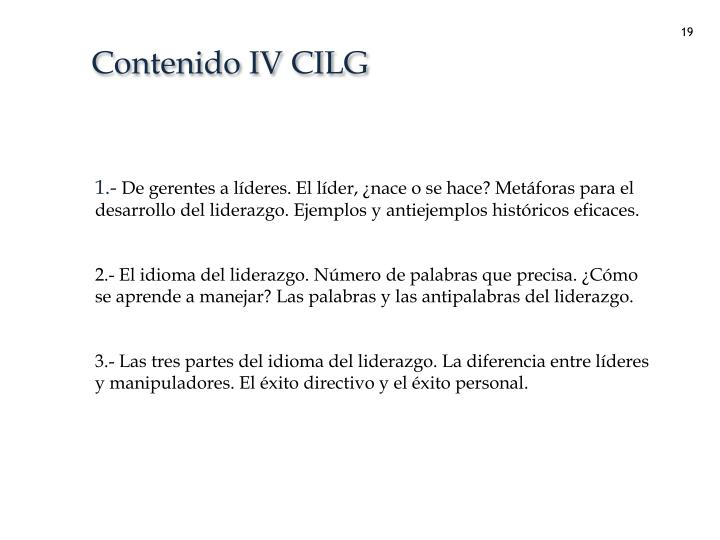 Contenido IV CILG