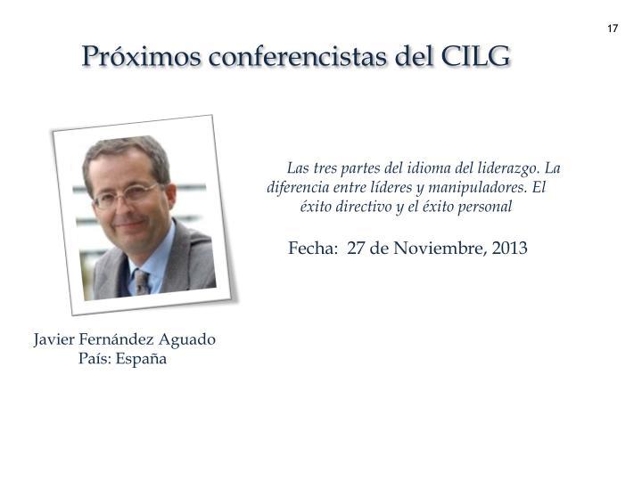 Próximos conferencistas del CILG