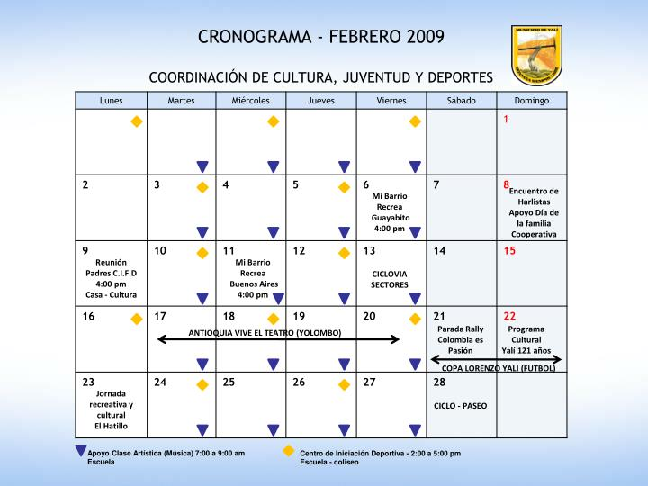 CRONOGRAMA - FEBRERO 2009