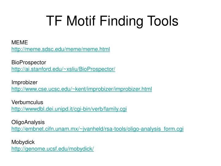 TF Motif Finding Tools