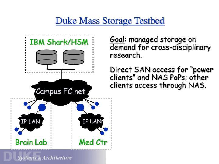 Duke Mass Storage Testbed