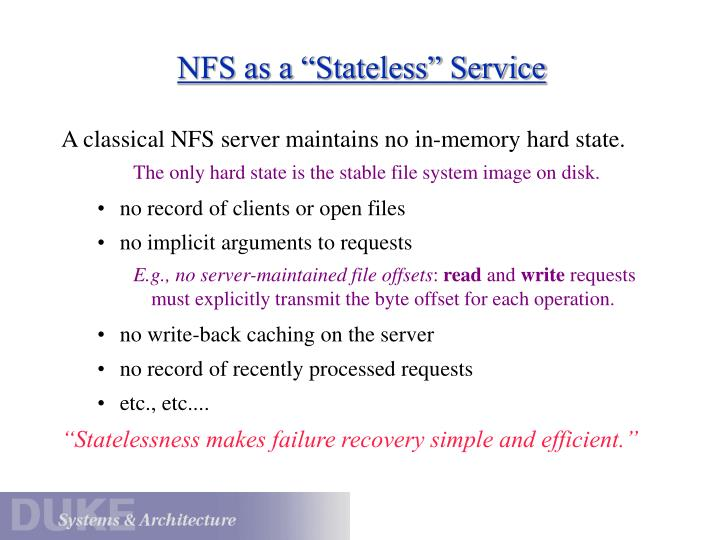 "NFS as a ""Stateless"" Service"