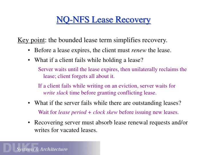 NQ-NFS Lease Recovery