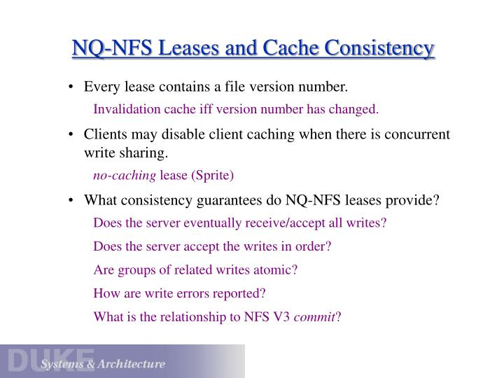NQ-NFS Leases and Cache Consistency