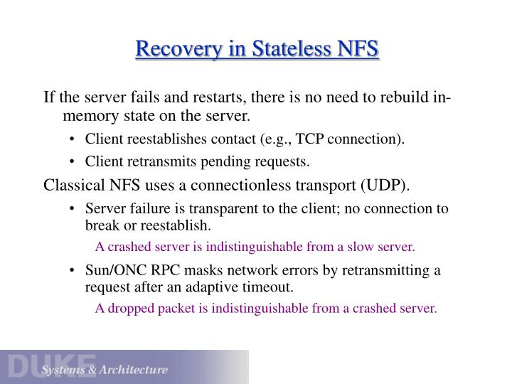 Recovery in Stateless NFS