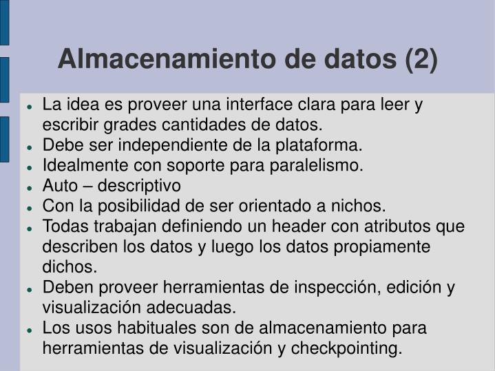Almacenamiento de datos (2)