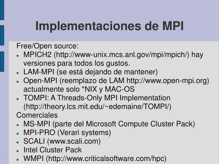 Implementaciones de MPI