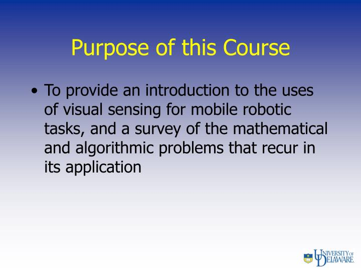 Purpose of this course