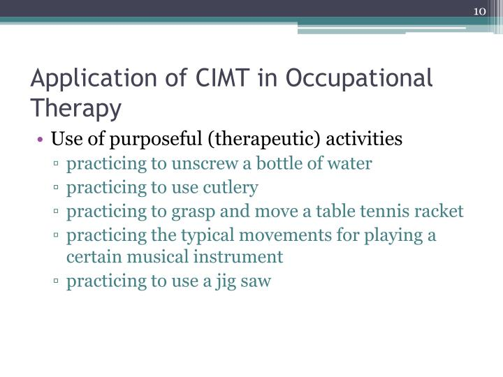 Application of CIMT in Occupational Therapy
