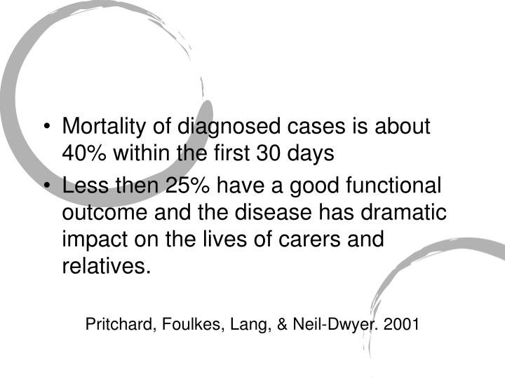 Mortality of diagnosed cases is about 40% within the first 30 days