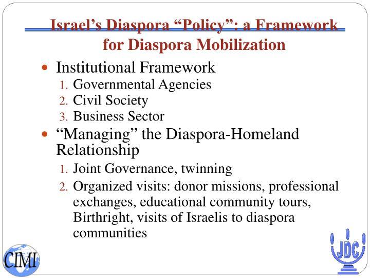 """Israel's Diaspora """"Policy"""": a Framework for Diaspora Mobilization"""
