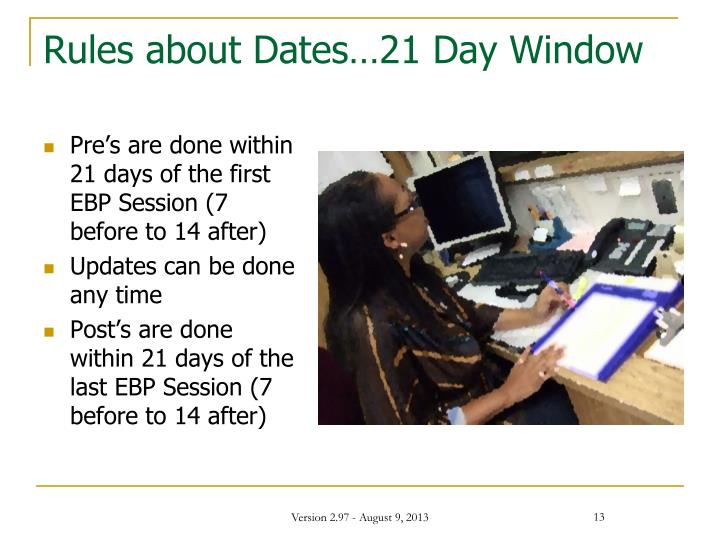 Rules about Dates…21 Day Window