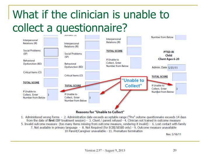 What if the clinician is unable to collect a questionnaire?