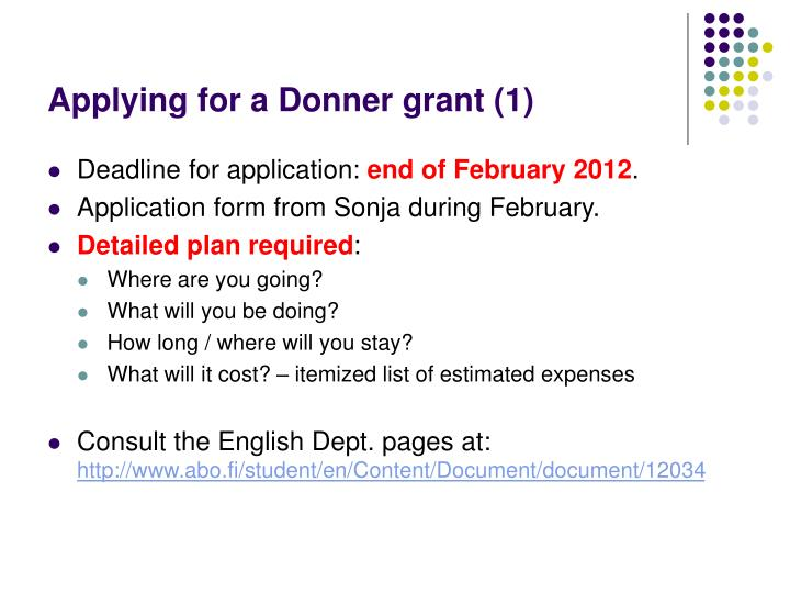 Applying for a Donner grant (1)