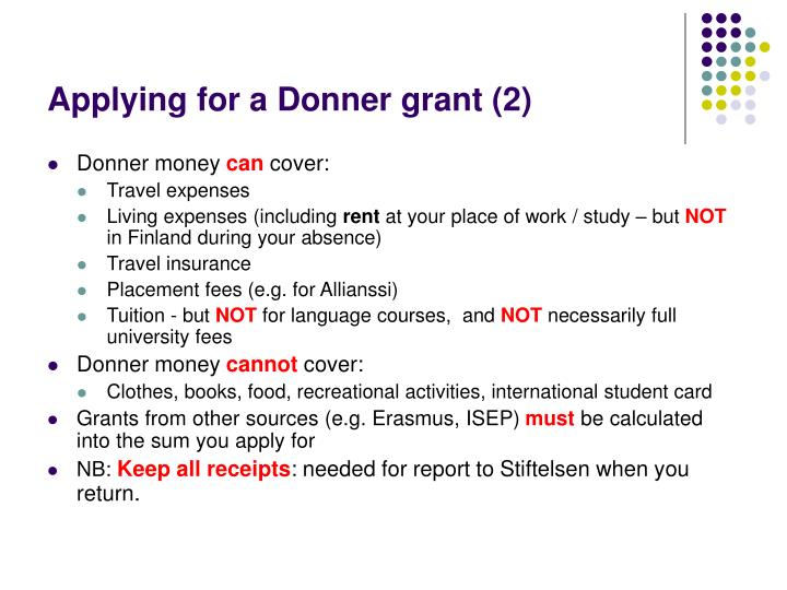 Applying for a Donner grant (2)