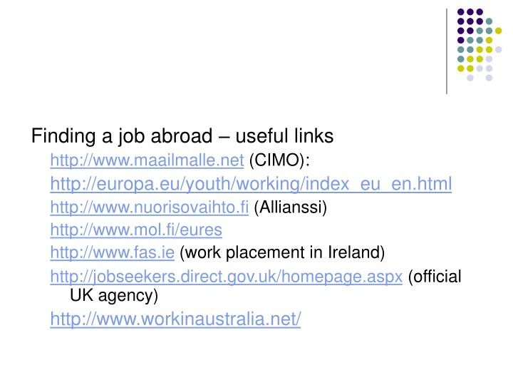 Finding a job abroad – useful links