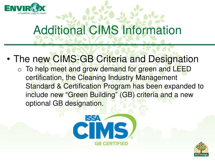 Additional CIMS Information