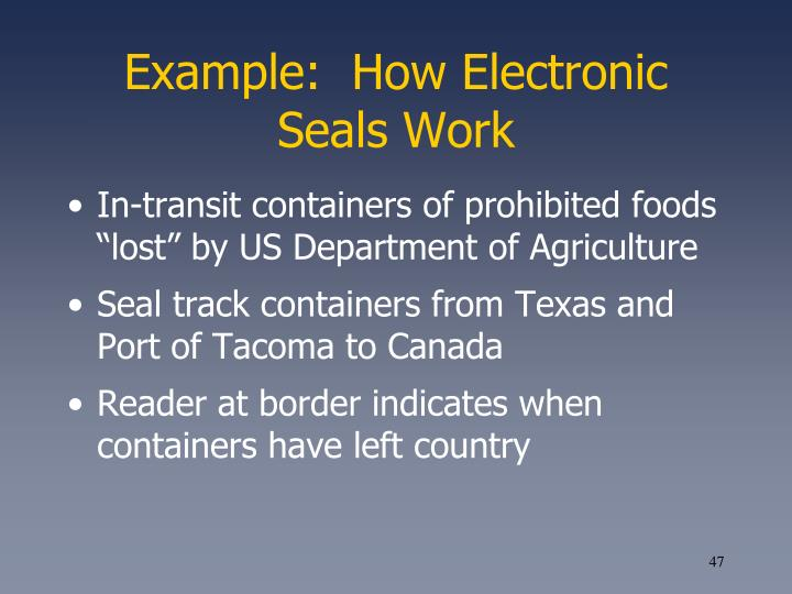 Example:  How Electronic Seals Work