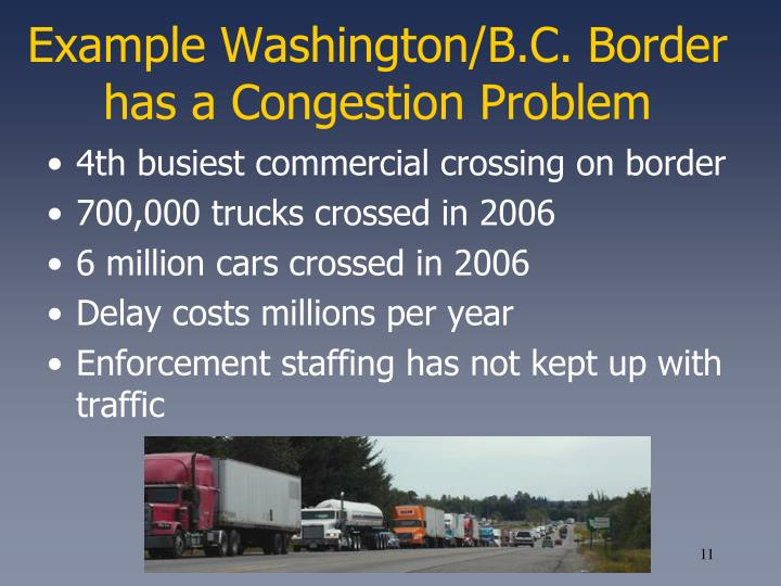 Example Washington/B.C. Border has a Congestion Problem