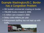 example washington b c border has a congestion problem