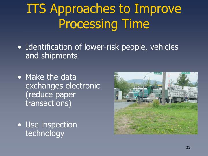 ITS Approaches to Improve Processing Time