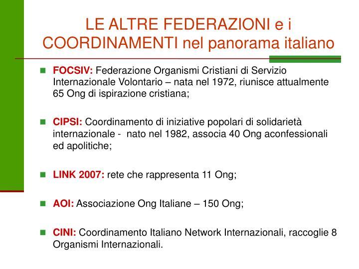 LE ALTRE FEDERAZIONI e i COORDINAMENTI nel panorama italiano