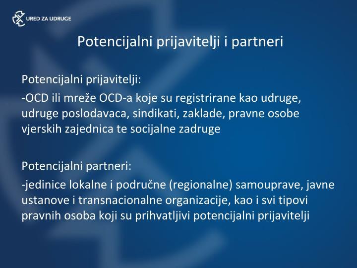 Potencijalni prijavitelji i partneri