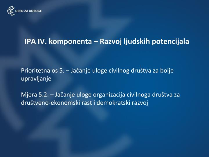 IPA IV. komponenta – Razvoj ljudskih potencijala