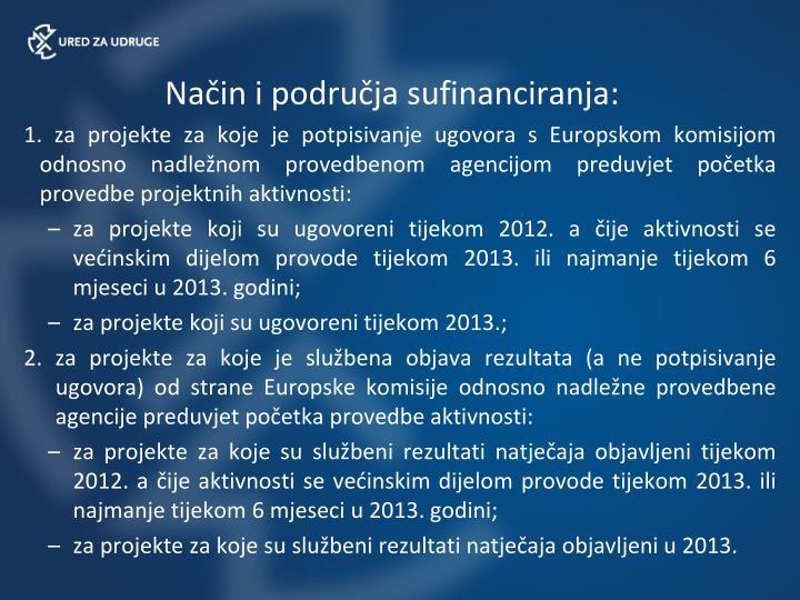 Način i područja sufinanciranja: