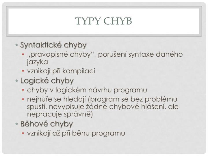 Typy chyb